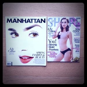 LILY COLLINS MAGAZINES - LOT OF TWO MAGS (2)